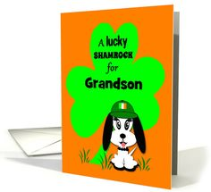 Custom Relationship St.Patrick's Day Puppy with Shamrock card