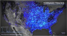 61 years of Tornado Tracks. 1950-2011 by F-Scale - Where Twisters Touch Down by John Nelson. The starting and ending points for fifty-six years of tornado activity in the US, with brightness adjusted for severity.
