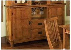 Dining Buffet in Cottage Oak Finish Dining Buffet, Dining Room, China Cabinet, Room Decor, Cottage, House, Warm, Furniture, Crafts
