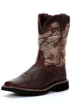 Justin Boots Men's Realtree Camo Waterproof Square Toe Cowboy Boots