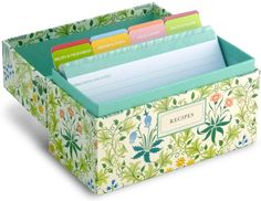 Interior of a recipe box, including dividers and recipe cards