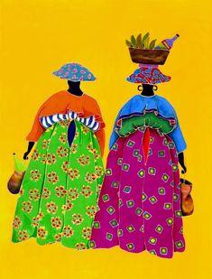 Sisters Caribbean Artwork by Marjolein Scott-van der Hek African American Art, African Art, Black Women Art, Black Art, Art Haïtien, Art Tropical, Haitian Art, Caribbean Art, Afro Art
