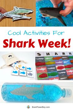 These oh so cool shark week activities will be a hit with kids. They are a lot of fun to do and everyone loves them. Includes shark games and sensory ideas as well as a craft. Shark Games For Kids, Shark Activities, Social Skills Activities, Activities For Boys, Party Activities, Preschool Ideas, Cool Sharks, Coding For Kids, Books For Boys