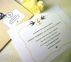 Swallow- Wedding Invitation Sample. $7.00, via Etsy.