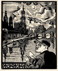 Conrad Felixmüller (German, 1897-1977), Der Zeichner vor Dresden (Selbstbildnis), 1930. Woodcut, plate: 503 x 407 mm (sheet: 550 x 450 mm.)