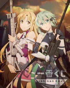 Yuuki Asuna and Asada Shino - Sword Art Online (Gun Gale Online) Otaku Anime, Manga Anime, Manga Girl, Anime Girls, Arte Online, Online Art, Sinon Ggo, Tous Les Anime, Asada Shino