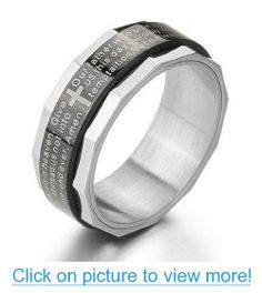 JBlue Jewelry men's Stainless Steel Ring Band Silver Solid Bible Lords Prayer Cross (with Gift Bag)