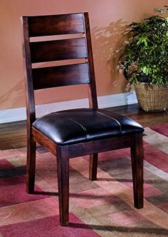 Signature Design by Ashley D442-01 Larchmont Collection Dining Room Chair, Burnished Dark Brown (Set of 2)