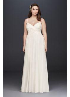 Ruched Bodice Chiffon Plus Size Wedding Dress 9WG3856