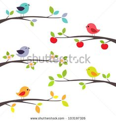 stock vector : Birds on different branches