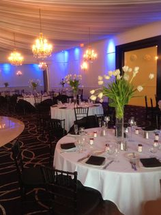 White tulip tall centerpieces