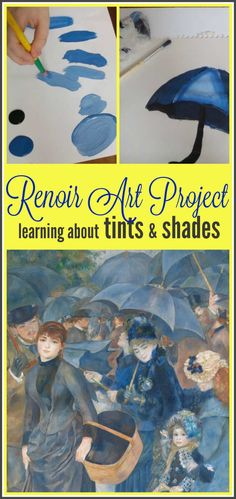 art for kids This fun Renoir art project is a great way to learn about his artwork and learn how to paint with tints and shades. Its a simple, fun project for kids! Fun Projects For Kids, School Art Projects, Art For Kids, Art History Projects For Kids, Project Projects, Kids Fun, Renoir, Arte Elemental, Classe D'art