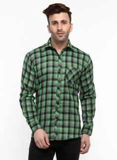Buy Checked Brush Twill Casual Shirt Online at Low prices in India on Winsant  #shirts #casualshirt #mensfashion #fashionblogger #fashion #style #winsant #pinterestmarketing #pinterest Formal Shirts, Casual Shirts For Men, Men Casual, Online Shopping Websites, Green Man, Lingerie Set, Daily Wear, Workout Shirts, Outfit Sets