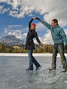 Image detail for -Couple ice skating on frozen Mildred Lake at The Fairmont Jasper Park ...