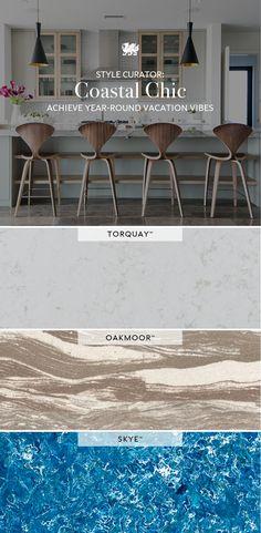 Explore Cambria quartz designs that offer dynamic movement and beachy vibes, perfect for a coastal kitchen design. Cambria Countertops, Cambria Quartz, Master Bath, Kitchen Design, Coastal, Dining Table, Articles, Design Ideas, House Design
