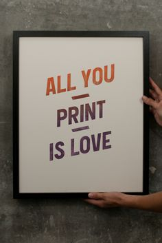 All you print is love. By BunkerType. Typographic Design, Typography, Beatles, Printing Press, Letterpress Printing, Book Making, It Cast, Letters, Love