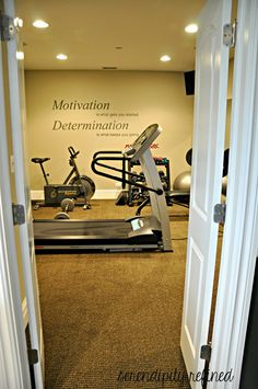 Basement Exercise Room by Serendipity Refined. I will probably be turning one of my rooms into a workout room at some point.