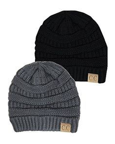 Black Thick Slouchy Knit Oversized Beanie Cap Hat,One Size,2 Pack: Black/Dark Grey Luxury Divas http://www.amazon.com/dp/B00OWFEKUK/ref=cm_sw_r_pi_dp_K-kDub1PF0D6Y