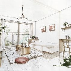 Are Interior Designers Expensive Interior Design Renderings, Drawing Interior, Interior Rendering, Interior Sketch, Architecture Drawings, Interior Architecture, Interior And Exterior, Deco Design, Portfolio Design