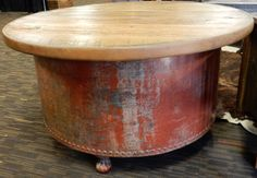 Metal gas tank base with hidden storage reclaimed wood oak table www.outlawcowboyfurniture.com