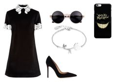 """""""Lady in black dress"""" by auriana-arista-van-loon on Polyvore featuring mode, macgraw, Gianvito Rossi en Disney"""