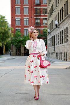 Flamingo skirt Chicwish; Top; Necklace - Baccurelli;  Flamingo Bag - Aliexpress; Belt - Danier Leather; White crystal cuff - Swarovski; Flamingo watch - Kate Spade; Hello Kitty ring - Swarovski;  Fascinator - Jacques Vert; Ponytail scarf - Coach; Earrings - Winners; Shoes - John Fluevog