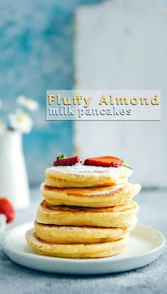 Fluffy Almond Milk Pancakes are perfect dairy free pancakes. Make these when everyone is sleeping in 15 minutes. Serve with fresh berries and make a wonderful start to your day. Soft and fluffy dairy-free pancakes with almond milk. Vegan Recipes Videos, Healthy Recipes, Healthy Foods To Eat, Healthy Desserts, Free Recipes, Muesli, Granola, Almond Milk Pancakes, Dairy Free Pancakes