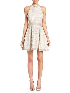 ALICE AND OLIVIA HOLLIE EMBELLISHED MOCKNECK DRESS. #aliceandolivia #cloth #