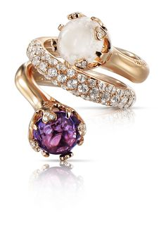 Pasquale Bruni- Sissi collection -Rose Gold , Amethyst , milky Quartz , white Topaz and Diamonds ring.