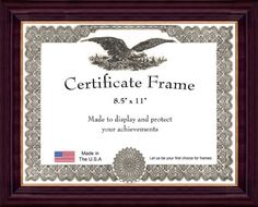 contemporary cherry finish with gold inlay certificate frame 85 x 11 check this