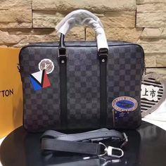 Louis Vuitton Damier Graphite Stickers Porte-Documents Voyage Bag PM 2017 League Collection Lv Handbags, Louis Vuitton Handbags, Louis Vuitton 2017, Authentic Louis Vuitton Bags, Damier, Crossbody Bag, Tote Bag, Christmas Sale, Graphite