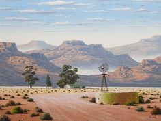 peter bonney karoo - Google Search Landscape Art, Landscape Paintings, Artistic Tile, South African Artists, Acrylic Art, Windmill, Artist Art, Abstract Backgrounds, Planer