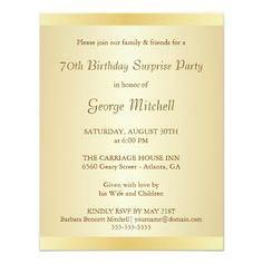 70th Birthday Party Invitations Gold With Monogram 70
