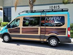 Surfers Healing Ford Transit van...teaching children with autism how to surf...awesome! Just added Aluminess roof rack and ladder.