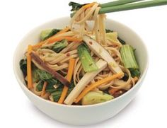 Stir-Fried Udon Noodles with Bok Choy Recipe | Vegetarian Times  Cooking Japanese this Thursday for a girfriend from church this is gonna be the side dish, spring rolls, along with Asain BBQ Chicken. Yum