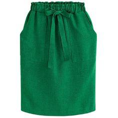 Fair+True New  Fairly Made Linen Pockets Tie Skirt (580 SEK) ❤ liked on Polyvore featuring skirts, tie-dye skirt, elastic waist skirt, linen skirt, pocket skirt and green skirt