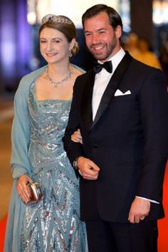 Hereditary Grand Duke Guillaume and Hereditary Grand Duchess Stephanie of Luxembourg arrive at the Rijksmuseum dinner hosted by Queen Beatrix of the Netherlands on the eve of her abdication in Amsterdam.