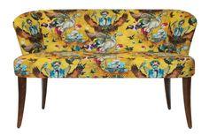 SANTORUS FURNITURE : Minimo Loveseat. Arrivée Des Oiseaux - Mustard. Bespoke Item • Made in UK • Linen Blend. Shop online at www.santorus.com
