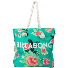2016 Billabong Essential Canvas Beach Bag Floral W9BG01 ($7.58) ❤ liked on Polyvore featuring bags, handbags, canvas beach bag, billabong purse, floral print handbags, beach tote bags and canvas handbags