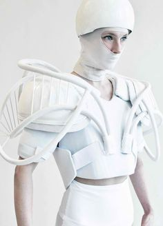 This strange project by Julia Krantz is a combination of costumery, photography and graphic design, focusing on the concept of a fictional guerilla protester. Decked out in a protective get-up, the model is dressed in all white to represent the forces of good in times of popular uprisings.