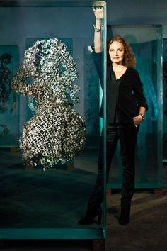 That's a Wrap - Diane von Furstenberg with the artist Dustin Yellin's tribute to the wrap dress, A Ghost May Come, 2013.