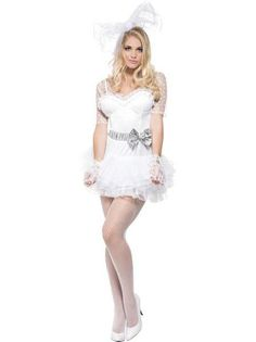 Ladies Madonna Virgin Bride Bridal Fancy Dress Hen Do Disco Pop Icon Outfit Wedding Dress Costume, Bridal Wedding Dresses, Halloween Bride Costumes, 1980s Fancy Dress, Disco Costume, Designer Lingerie, Indiana Jones, Freddie Mercury, Madonna