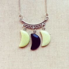 Gemstone Moon Necklace - Crescent Moon Necklace Delicate Minimalist Necklace Yellow Black  Gemstone Birthstone Summer Fashion FREE SHIPPING