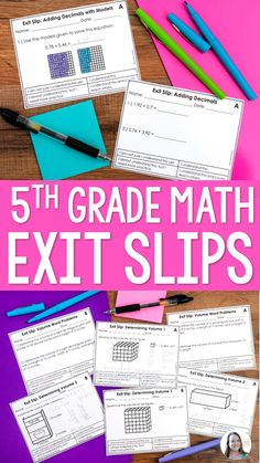 Exit slips are perfect for assessing your students regularly without taking up too much instruction. These grade math exit slips cover all the grade common core standards and substandards! Teaching 5th Grade, Fifth Grade Math, 5th Grade Classroom, Teaching Math, Classroom Ideas, Fourth Grade, Math 5, Guided Math, Math Teacher