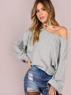 Raw Cut Cropped French Terry Pullover GREY