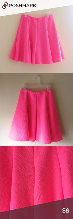 Hot Pink Skater Skirt NWOT. Beautiful hot pink skater skirt with subtle diamond and triangle shape designs. Skirts Circle & Skater