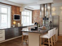 & & & & A brick wall accent that brings warmth to the home Beautiful Kitchens, Cool Kitchens, Kitchen Interior, Kitchen Decor, Design Kitchen, My Dream Home, Decoration, Modern Decor, Kitchen Remodel