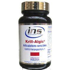 Ineldea Ins -KRILL -Algic 45 cap - contiene ácidos grasos esenciales omega-3 (EPA, DHA) participan sist. dle buen func nervioso cardiovascular su contenido en fosfolípidos, aseguran máx biodisponibilidad lograr máx eficacia reducción del colesterol regulaci  trastorno mental, el contenido d astaxantina, poderoso antioxidante ejerce 1fuerte actividad anti-inflamatoria. clínicamente probado pa mejorar salud articulacion en sólo 7 días, 300 mg al día -lleva Krill, Harpafogito .......... 0-0-1