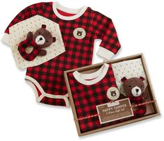 Baby Aspen Happy Camper Red Plaid 3-pc. Gift Set love this for a winter set. #ad