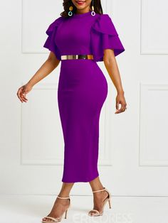 African Fashion Falbala Pure Color Knee-Length Bodycon Dress without Belt Elegant Dresses Classy, Elegant Maxi Dress, Classy Dress, African Lace Dresses, African Fashion Dresses, Fashion Outfits, African Print Fashion, African Wear, Short Dresses